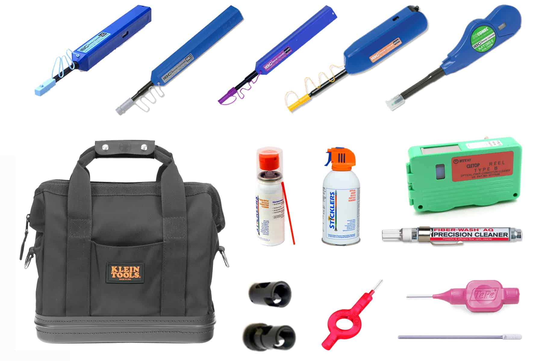 Fiber Optic Cleaning Kit - QODC 12 Connector Cleaning Tool Kit