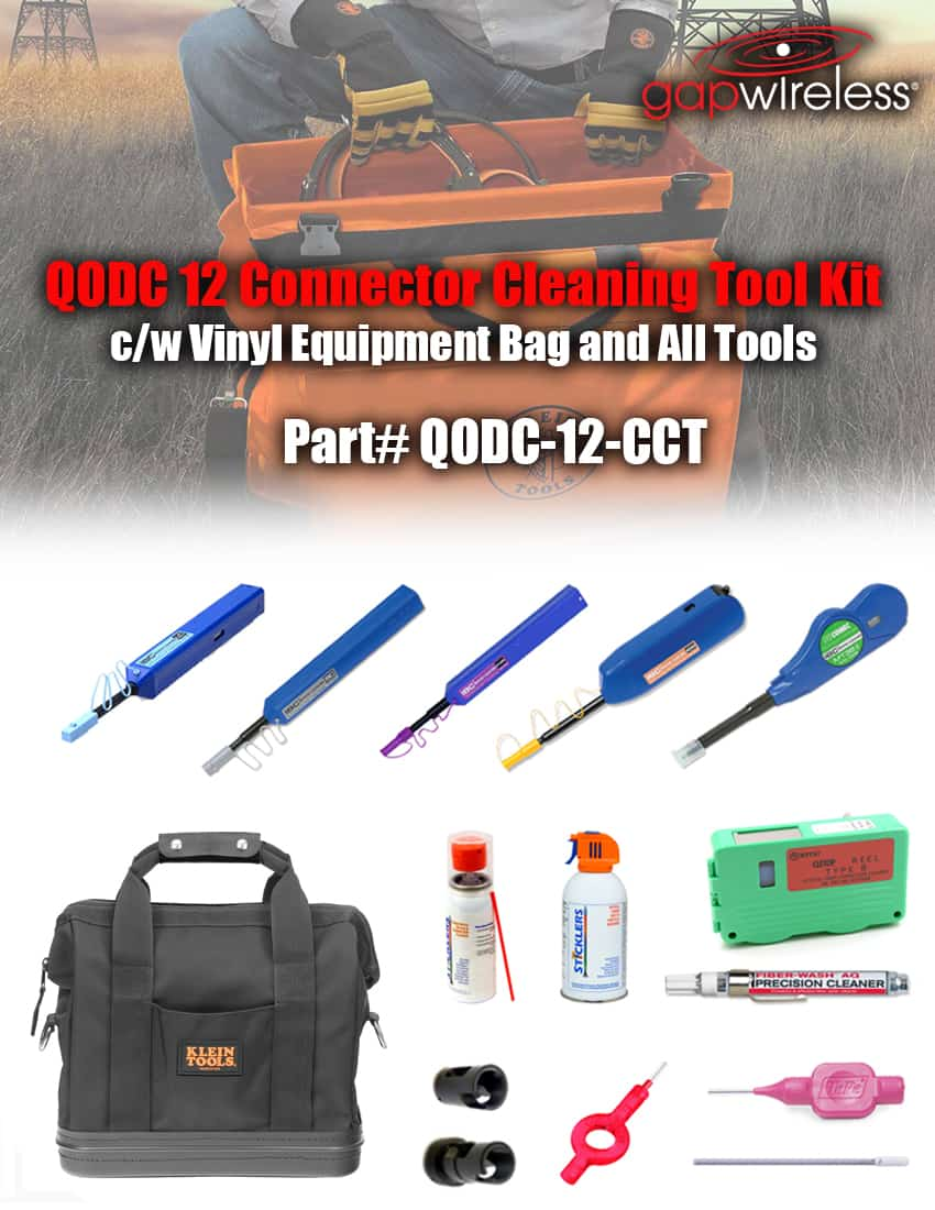 QODC 12 Fiber Optic Connector Cleaning Tool Kit
