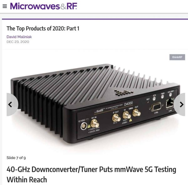 D4000 RF Named Top 2020 Product by Microwaves & RF